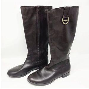 Ralph Lauren Sariah Leather Tall Boots 8B Brown